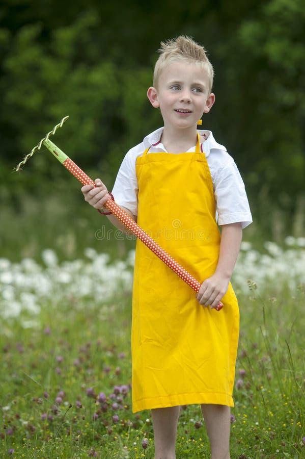 Jardinando, rapaz pequeno bonito com ancinho, fora fotos de stock