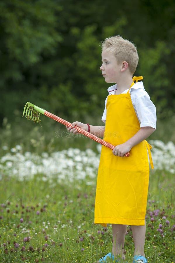 Jardinando, rapaz pequeno bonito com ancinho, fora foto de stock