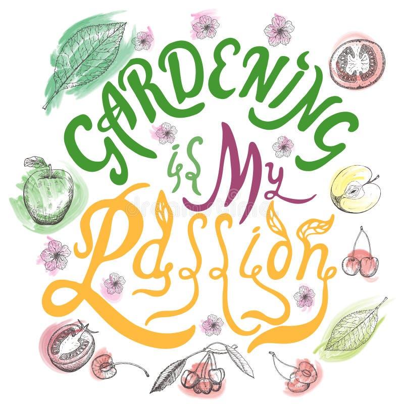 Jardinar é minhas citações tiradas mão da rotulação da escova da paixão Elemento escrito mão do projeto da caligrafia ilustração do vetor