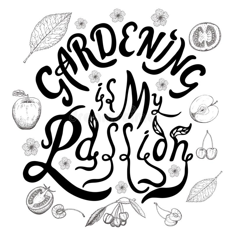 Jardinar é minhas citações tiradas mão da rotulação da escova da paixão Elemento escrito mão do projeto da caligrafia ilustração stock