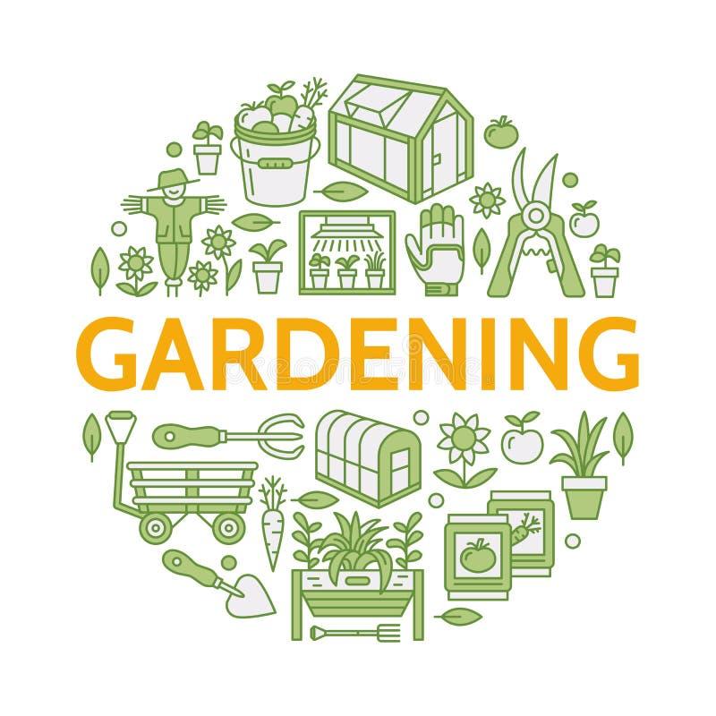 Jardinar, plantando a horticultura coloriu a bandeira com linha ícone do vetor Equipamento de jardim, sementes orgânicas, casa ve ilustração royalty free