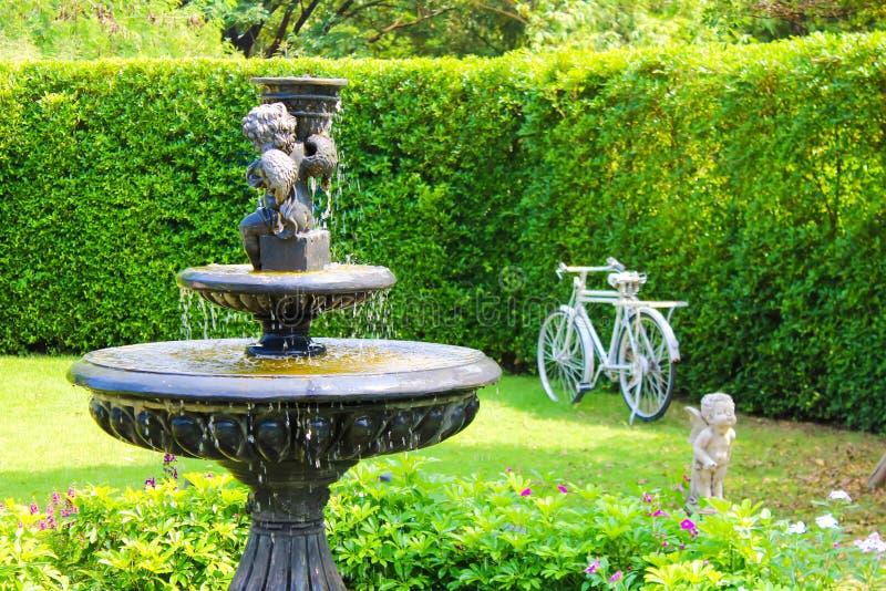 Jardine com fonte pequena e as árvores de pedra das plantas do gramado do verde do banco fotos de stock royalty free