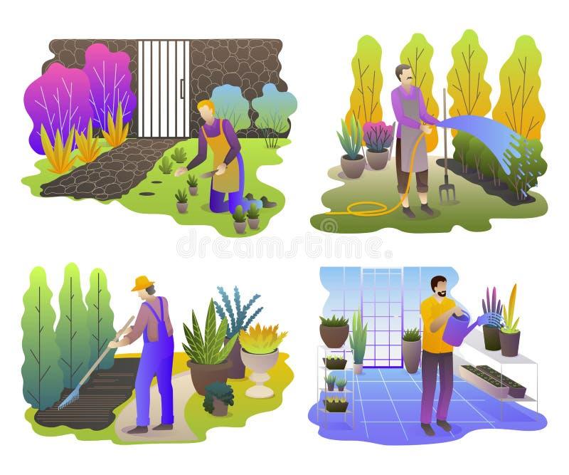 Jardineiro ajustados Homens que trabalham no jardim Os povos com plantas e ferramentas trabalham exterior e na estufa ilustração royalty free