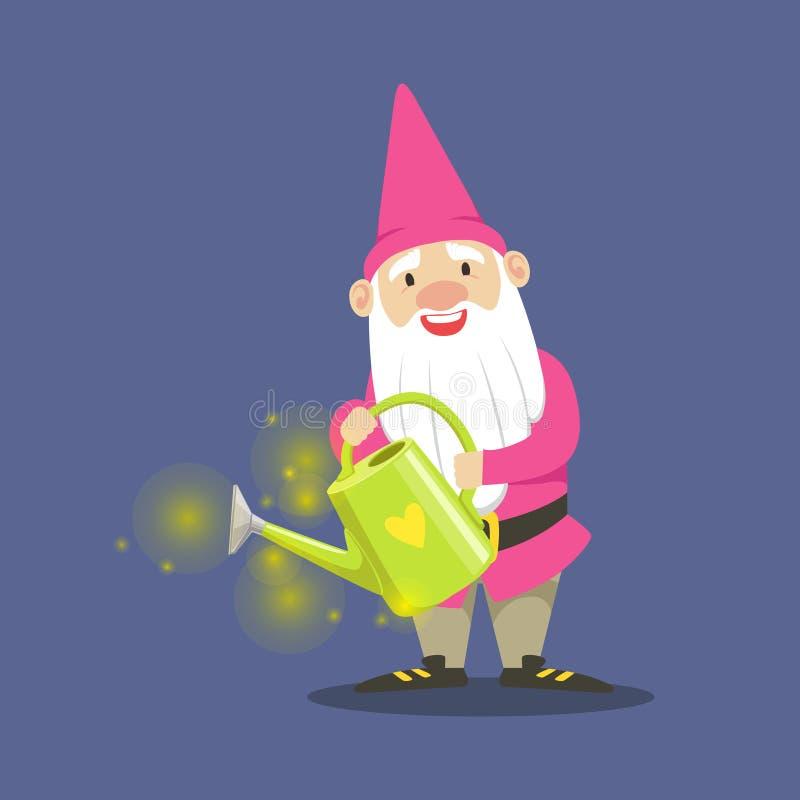 Jardineiro bonito do anão na roupa cor-de-rosa que está e que guarda uma ilustração do vetor da lata molhando ilustração do vetor
