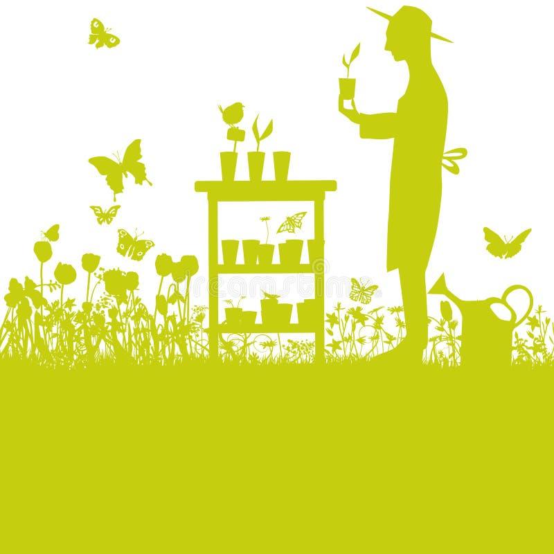 Jardineiro com elevação de plantas no jardim na tabela ilustração royalty free