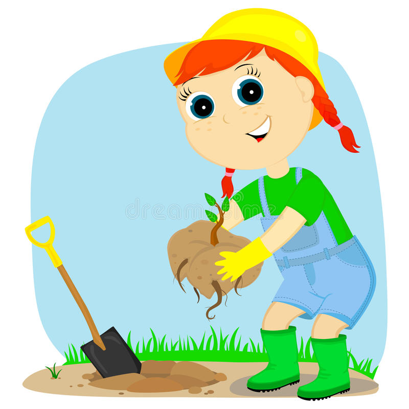 Jardineiro da menina ilustração do vetor