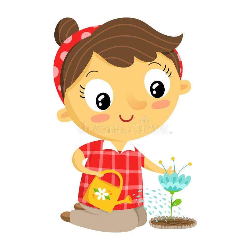 Jardineiro da menina, personagem de banda desenhada no branco ilustração do vetor
