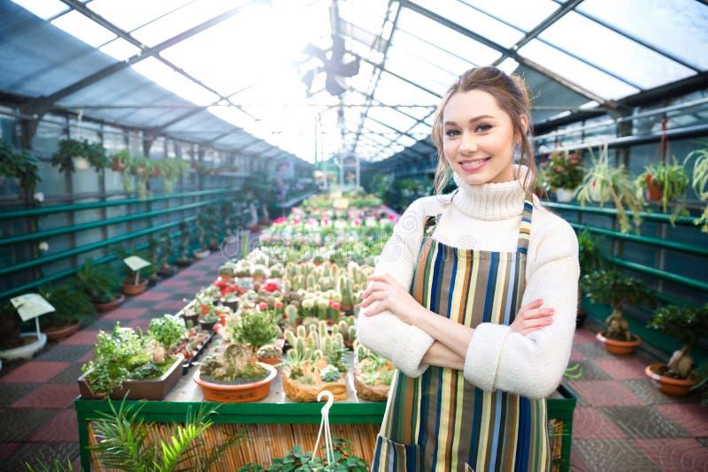 Jardineiro de sorriso bonito da jovem mulher que está cactos próximos na estufa para cultivo de laranjas imagens de stock