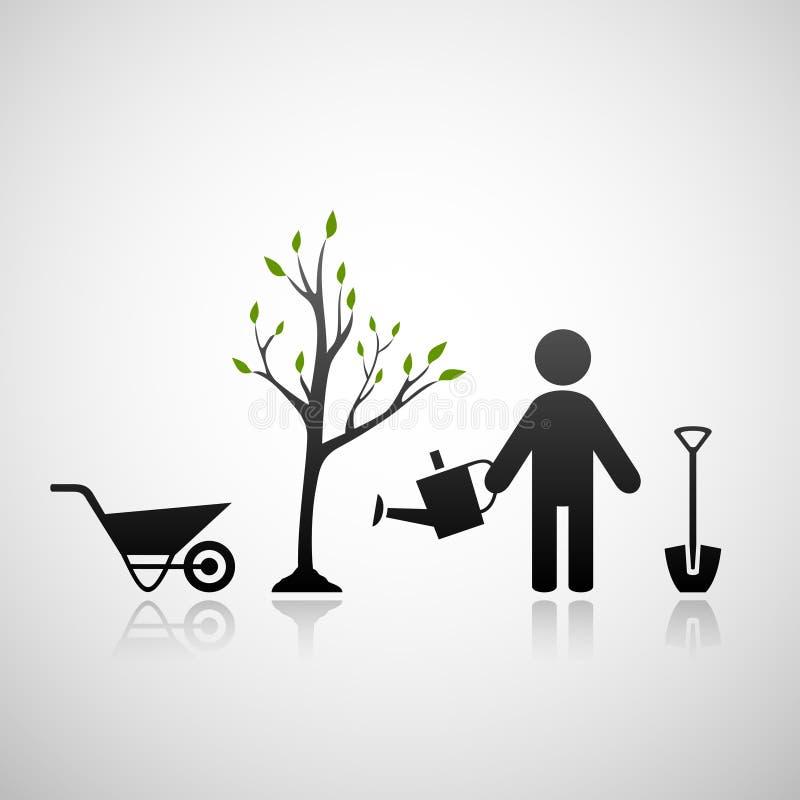 Jardineiro e rebento ilustração do vetor