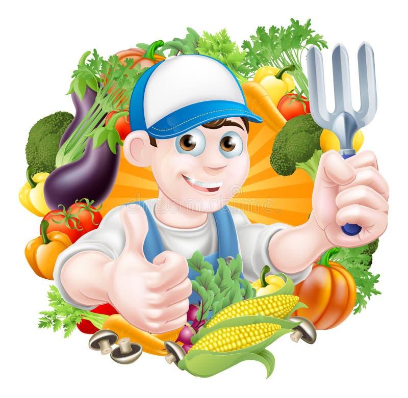 Jardineiro e vegetais ilustração royalty free