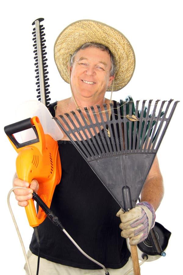 Jardineiro envelhecido médio feliz imagem de stock royalty free