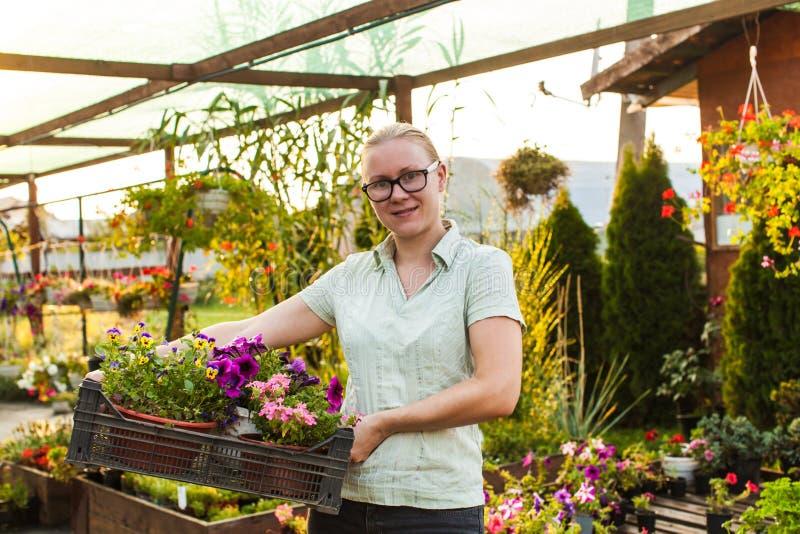 Jardineiro feliz com planta imagem de stock royalty free