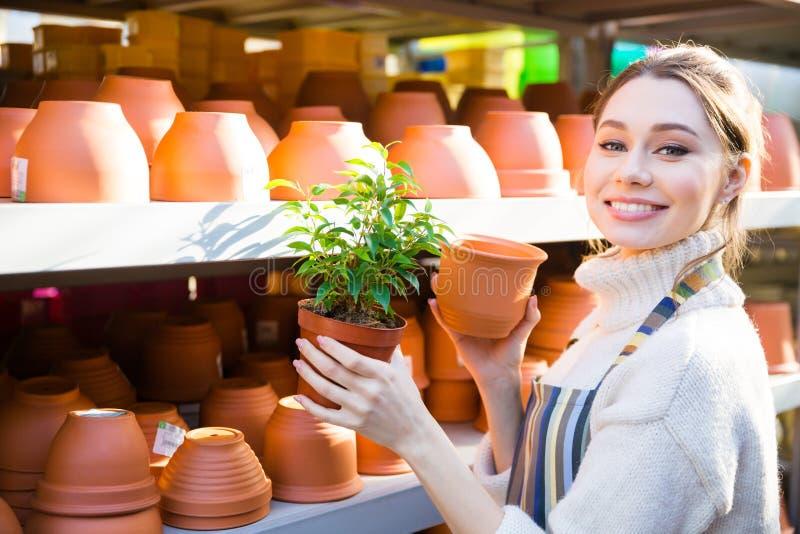 Jardineiro feliz da mulher que compra o potenciômetro novo para a planta fotografia de stock royalty free
