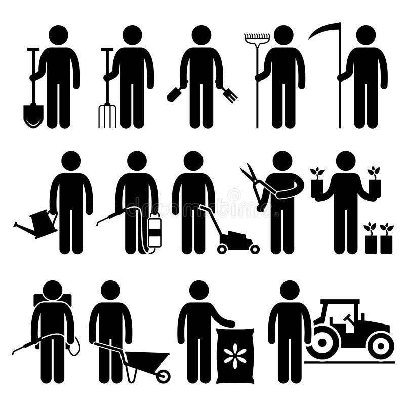 Jardineiro Man Worker que usa ícones das ferramentas e dos equipamentos de jardinagem ilustração do vetor