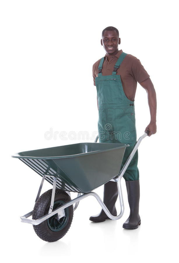 Jardineiro masculino With Wheelbarrow fotografia de stock