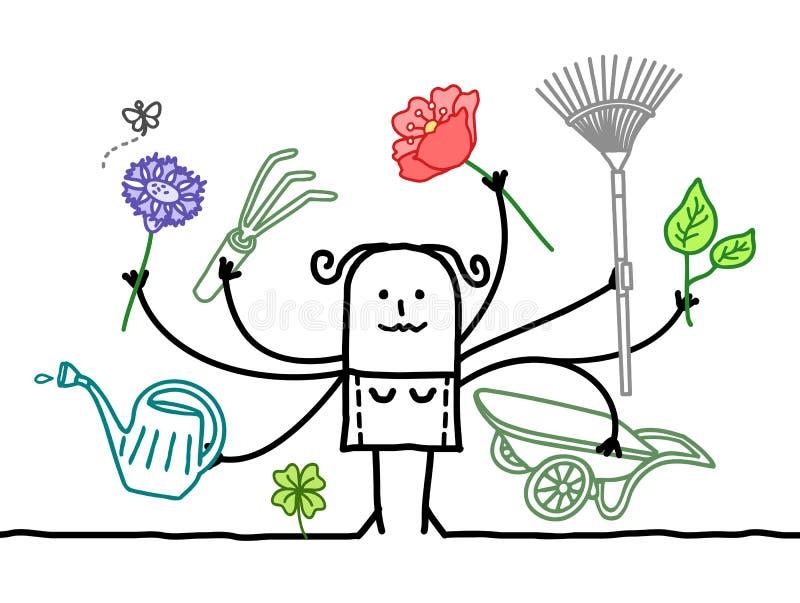 Jardineiro a multitarefas dos desenhos animados com muitos braços ilustração stock