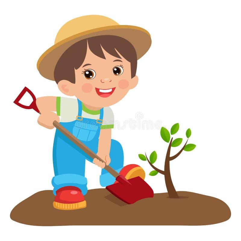Jardineiro novo crescente Menino bonito dos desenhos animados com pá Fazendeiro novo Planting uma árvore ilustração royalty free