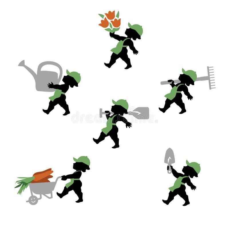 Jardineiro tal cupido com as ferramentas no projeto liso ilustração do vetor