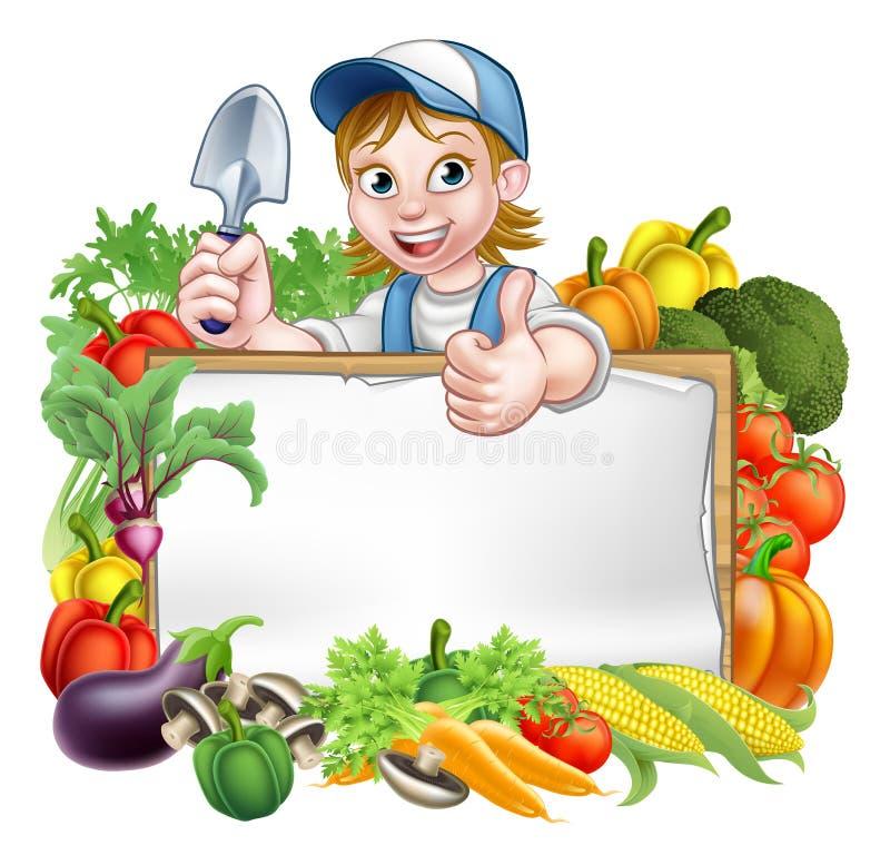 Jardineiro Vegetables Sign da mulher ilustração stock