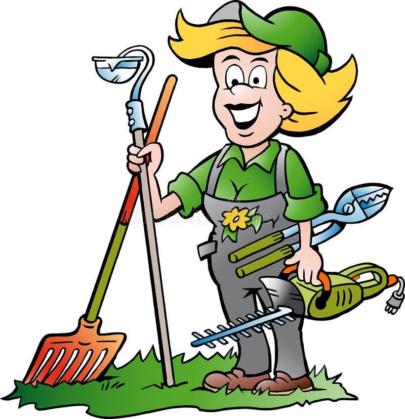 Jardineiro Woman que está com ele ferramentas de jardim ilustração royalty free