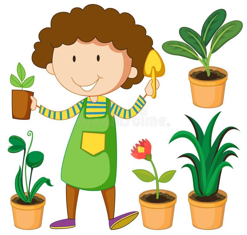 Jardinero con las plantas en conserva libre illustration