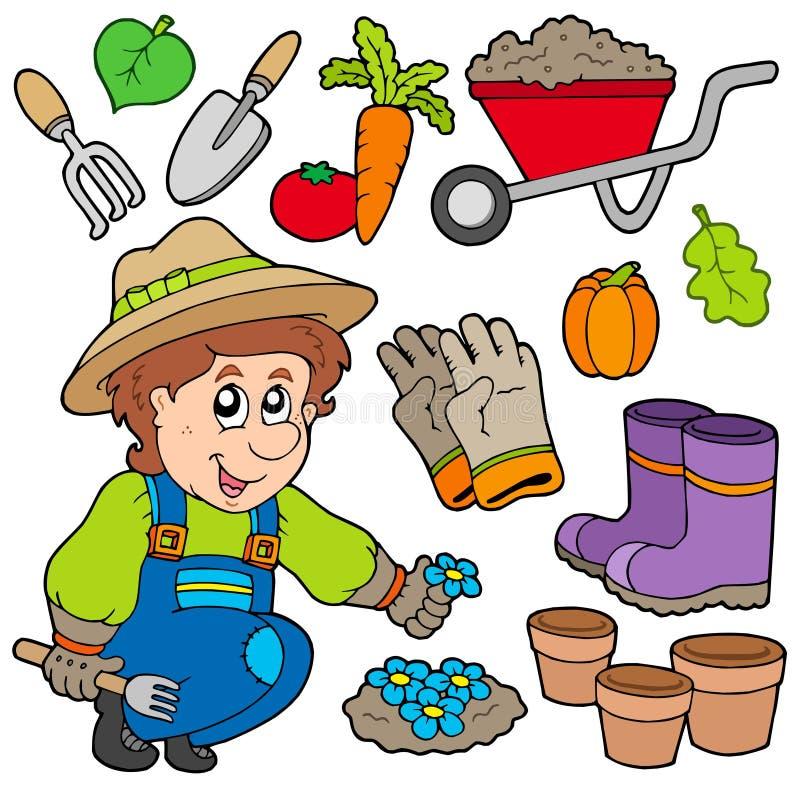 Jardinero con los varios objetos stock de ilustración