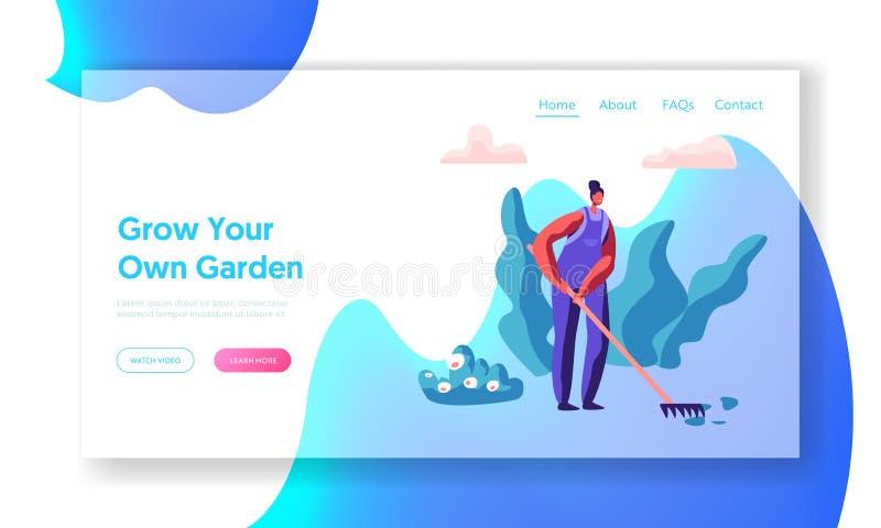 Jardinero de la mujer con el funcionamiento del rastrillo en página del aterrizaje del jardín del árbol Trabajador de sexo femeni ilustración del vector