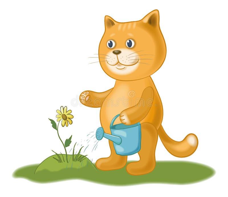 Gato que riega una flor stock de ilustración