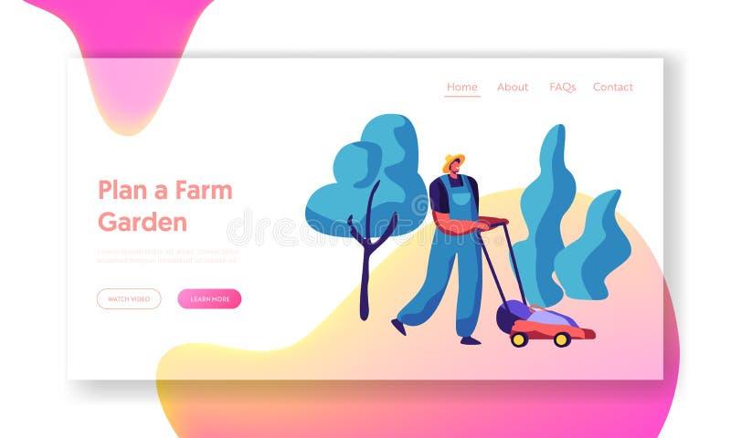 Jardinero del hombre en sombrero con la hierba de siega del cortacésped en página del aterrizaje de la yarda Trabajador en el cés stock de ilustración