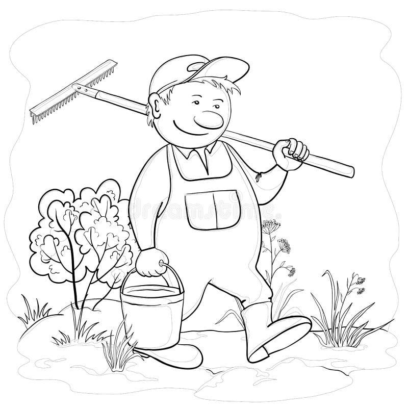 Jardinero en un jardín, contornos del hombre libre illustration