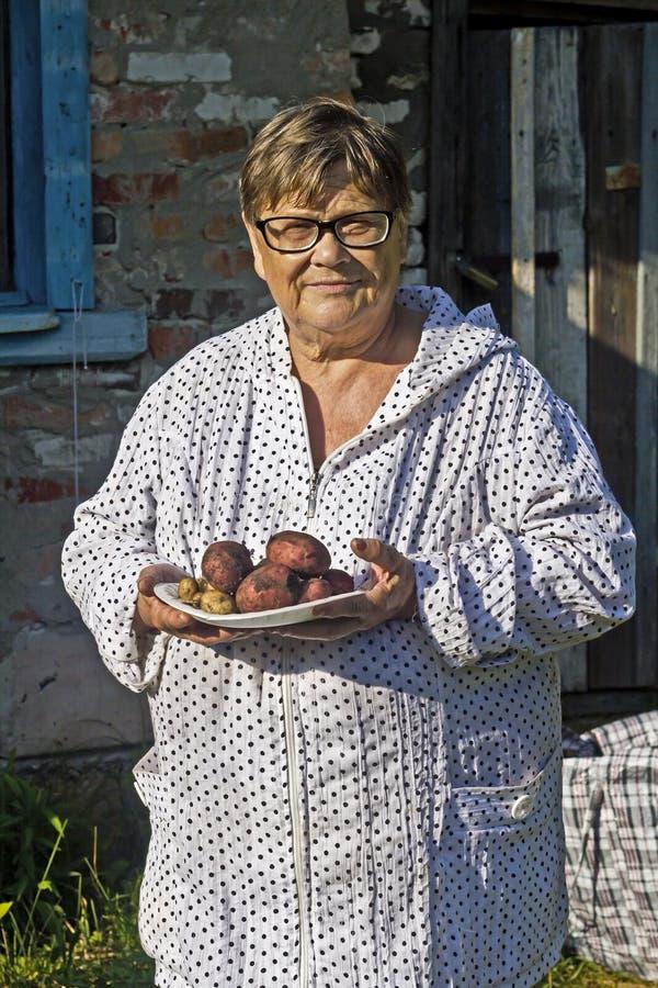 Jardinero envejecido con patatas imagen de archivo libre de regalías
