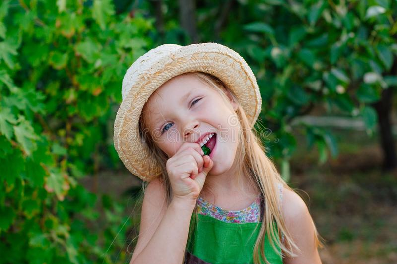 Jardinero feliz de la niña que come el pepino fresco fotos de archivo libres de regalías