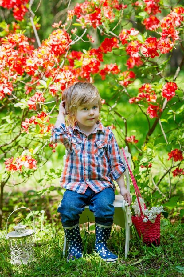 Jardinero joven en los flores de la primavera foto de archivo