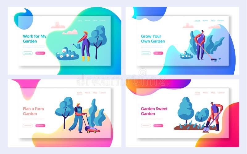 Jardinero Planting Tree y página del aterrizaje del sistema de Bush Planta que cultiva un huerto de la gente en jardín Mujer con  stock de ilustración