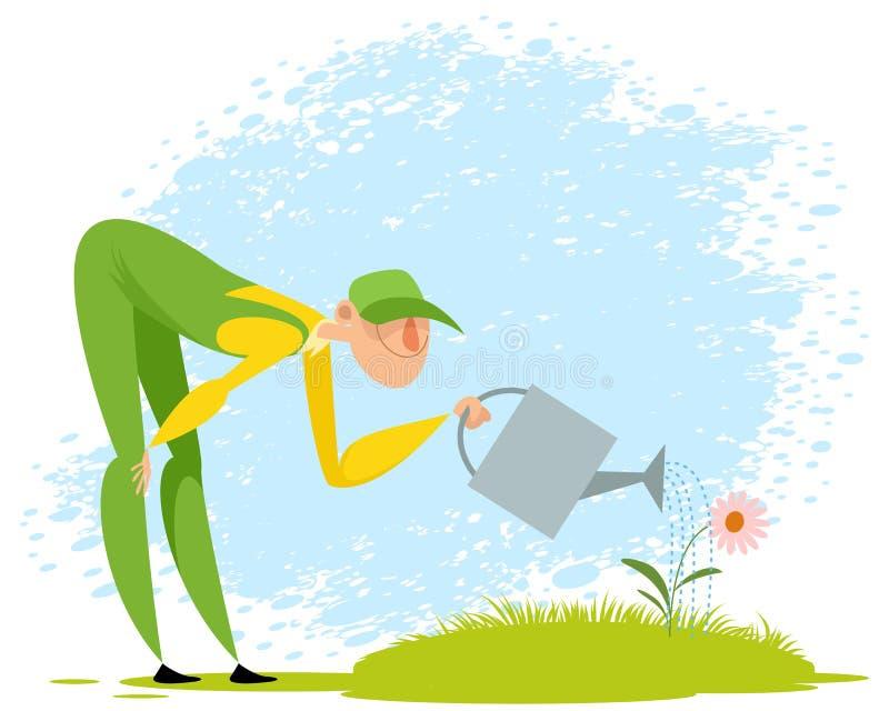 Jardinero que riega una flor stock de ilustración