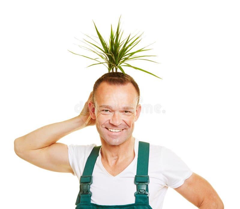 Jardinero que sostiene la planta detrás de su cabeza como estilo de pelo foto de archivo libre de regalías