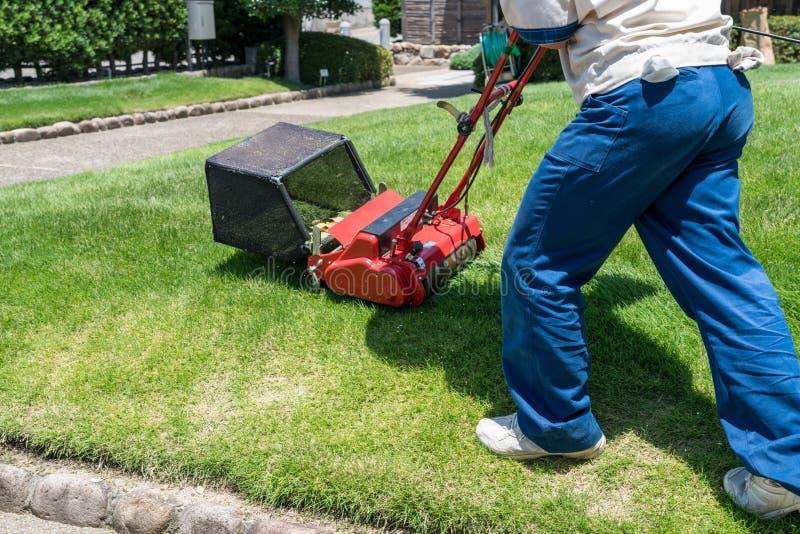 Jardinero que usa un cortacésped en jardín foto de archivo