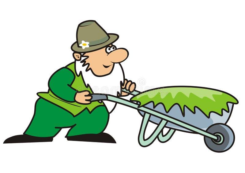 Jardinero y carretilla de mano stock de ilustración