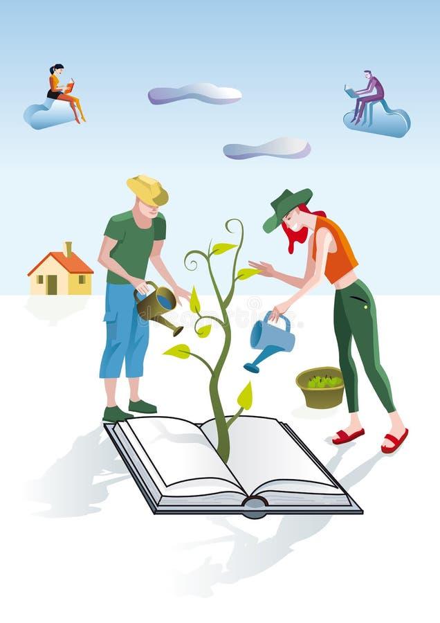 Jardineros de los libros stock de ilustración