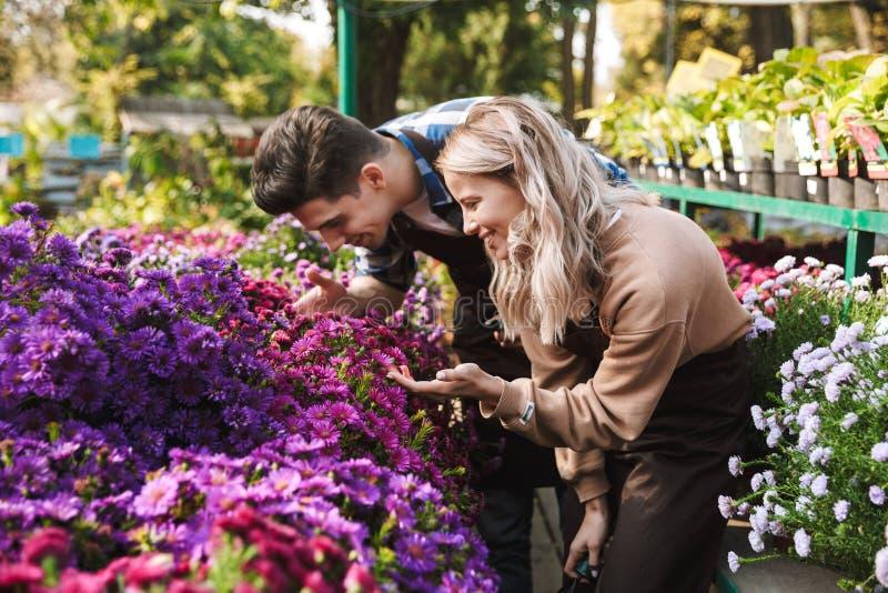 Jardineros que sorprenden que presentan en el trabajo del jardín del invernadero de la naturaleza con las plantas de las flores imágenes de archivo libres de regalías