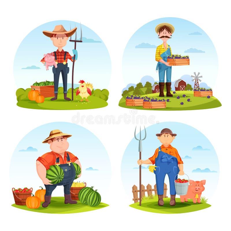 Jardineros y granjeros con los animales y las verduras ilustración del vector