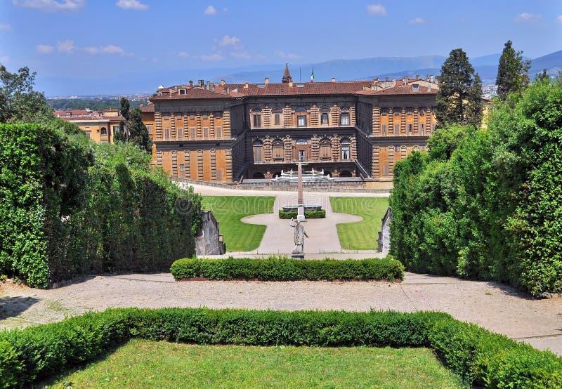 Jardines de Boboli y palacio de Pitti fotografía de archivo