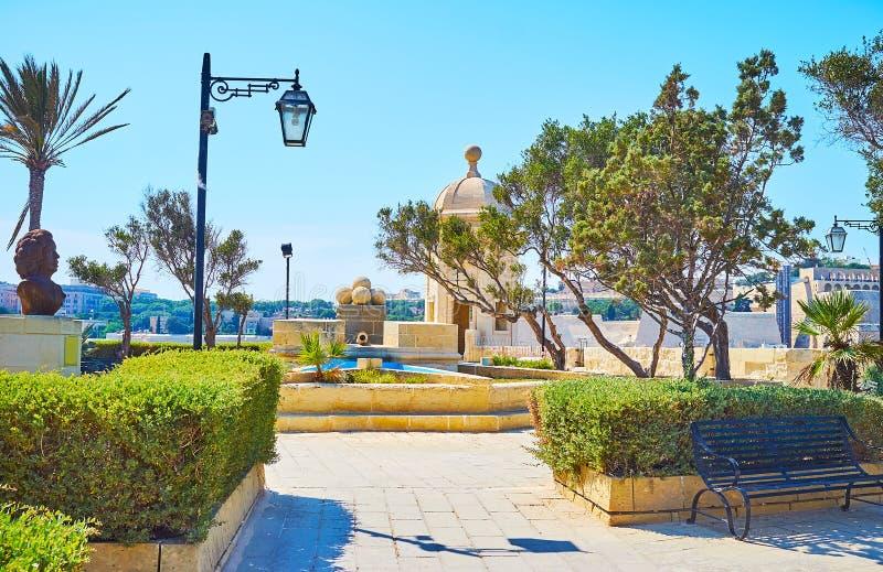 Jardines de Gardjola de la visita, Senglea, Malta fotos de archivo