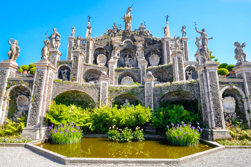 Jardines de Palazzo Borromeo - lago Maggiore, Stresa - Italia imagenes de archivo