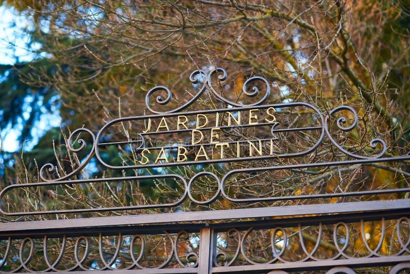 Jardines de Sabatini Gardens Madrid, Spanien royaltyfria bilder