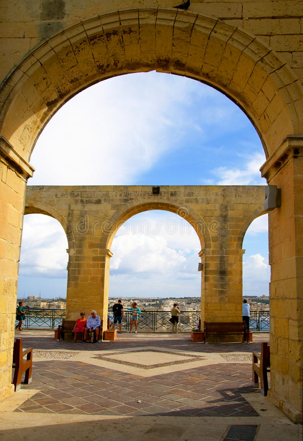 Jardines superiores de Barrakka en La Valeta, Malta fotografía de archivo libre de regalías