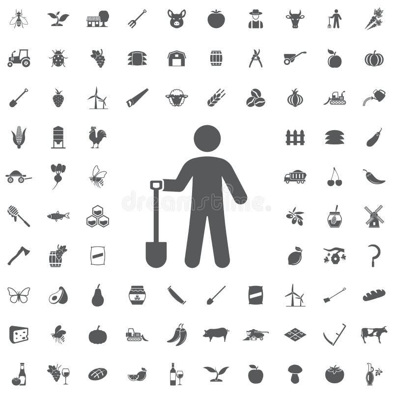 Jardinier avec l'icône de pelle illustration libre de droits