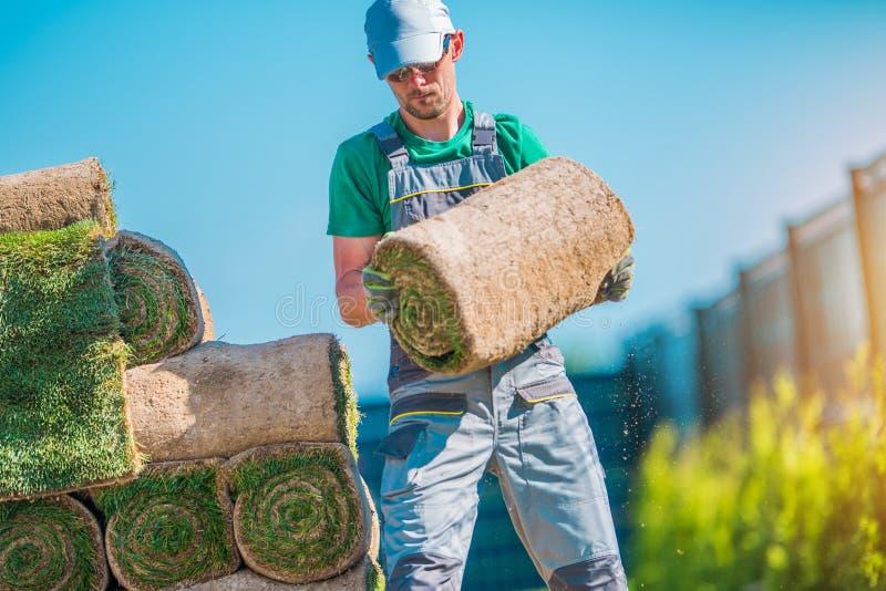 Jardinier avec le morceau de gazon photo libre de droits