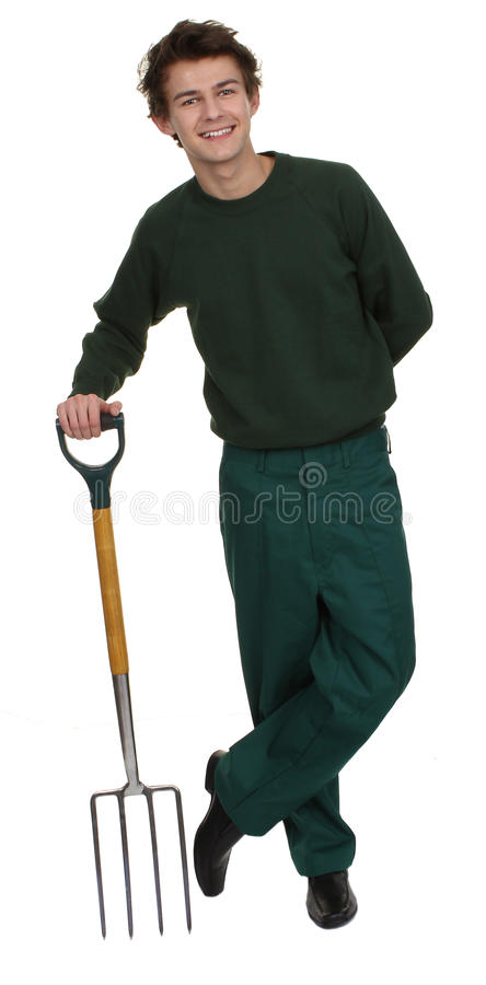 Jardinier avec une fourchette image stock