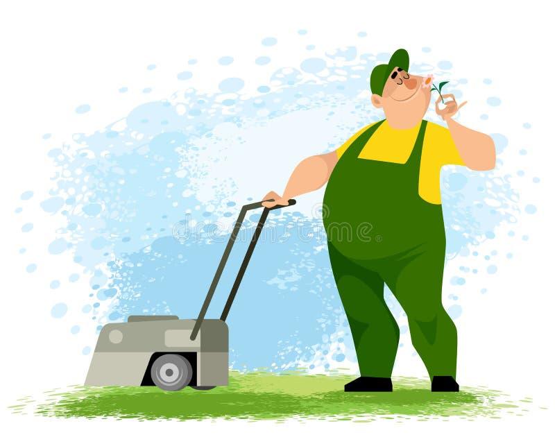Jardinier avec une tondeuse à gazon illustration libre de droits